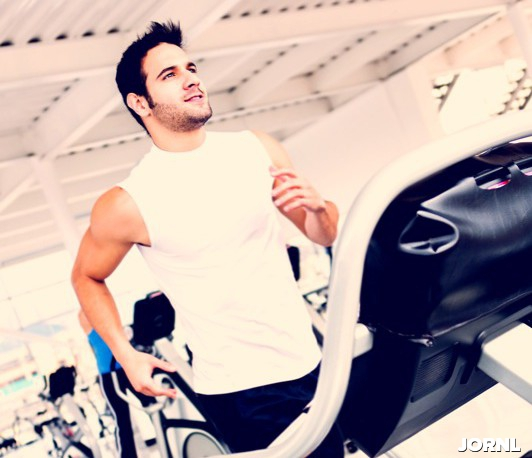 Gym man on the treadmill