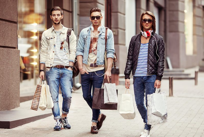 Three Young male fashion shop shopping walk